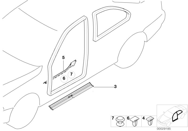 BMW Genuine Door Sill Trim Clip Clamp E36 3 Series Coupe