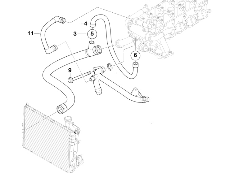 BMW Genuine Cooling System Water Hose/Pipe E46 11532247725