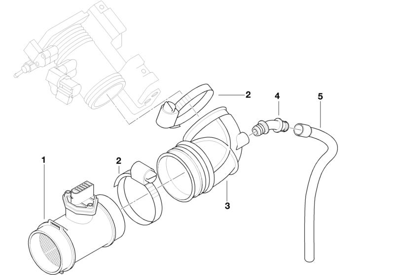 BMW Genuine Mass Air Flow Sensor Rubber Boot/Tube Part E36