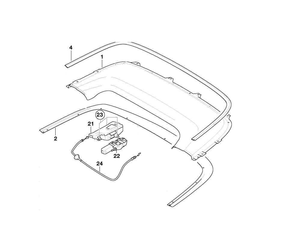 BMW Genuine Soft Top Boot Lid Locking Mechanism Drive E46