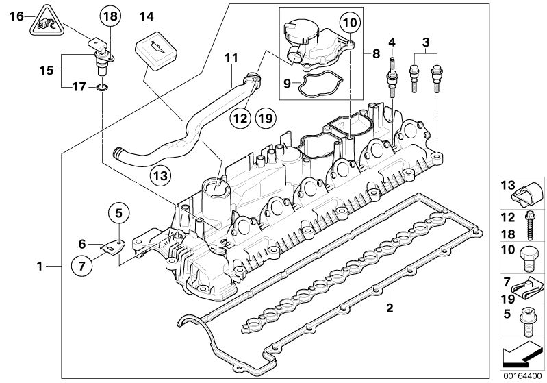 BMW Genuine Cylinder Head Cover Engine Block Breather With