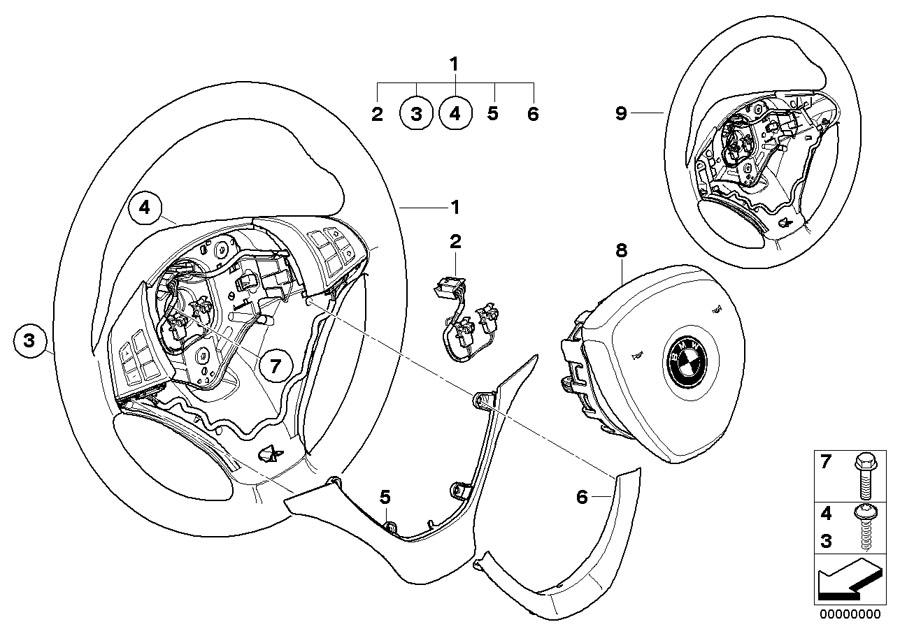 BMW Genuine Steering Wheel Cover Leather Black E70/E71/E72