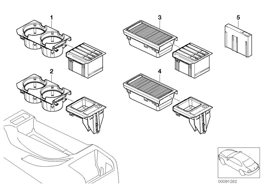 BMW Centre Armrest Tray/Storage+Roller Cover Black E46 3