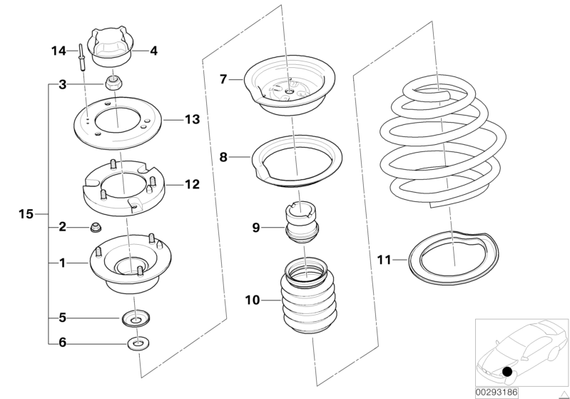 BMW Genuine Repair Kit For Support Bearing Front E46 3