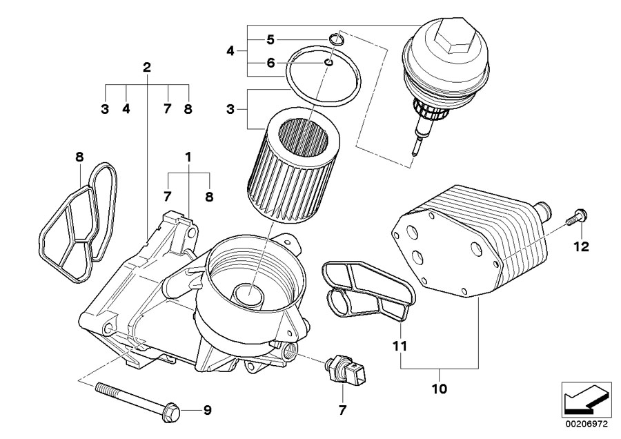 BMW Genuine Diesel Engine Oil Filter Element Set Kit