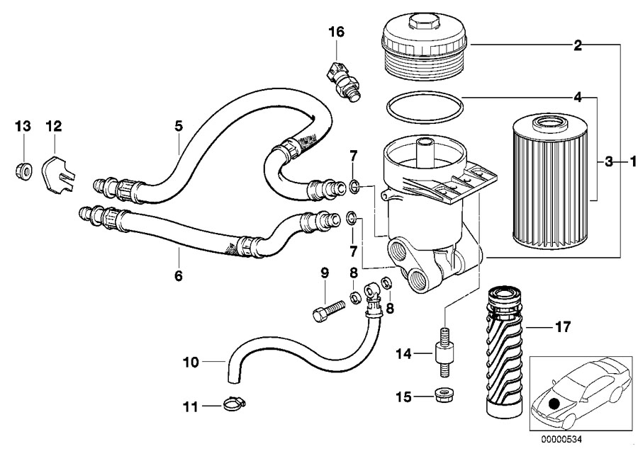 BMW Genuine Set Oil Filter Element E39/E39/E52/E53 5/7