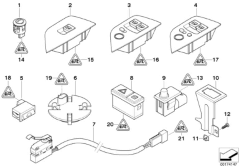 BMW Genuine Hood Alarm System Switch E39 E85 E86 5 Z4