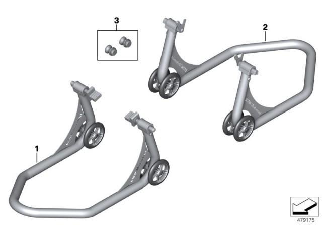 Genuine BMW HP Front Rear Padlock Stand Swing Arm Bobbins
