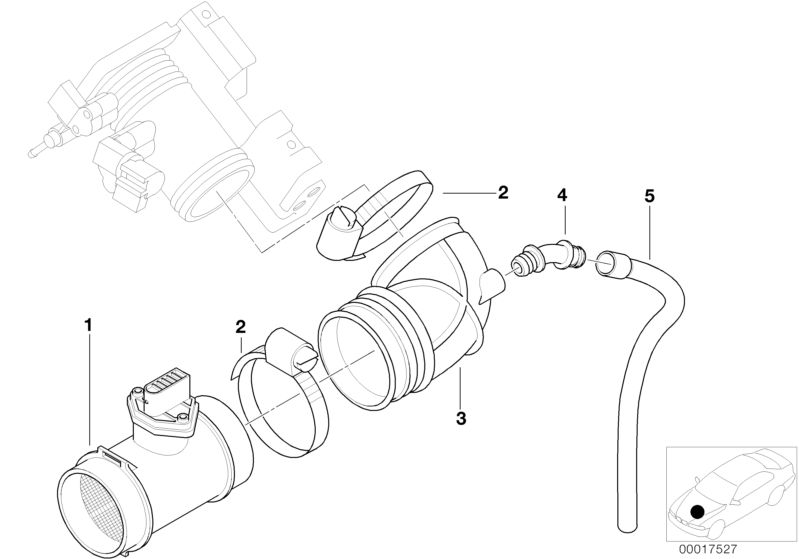 BMW Genuine Air Flow Sensor/Fuel Injection Hose For 3