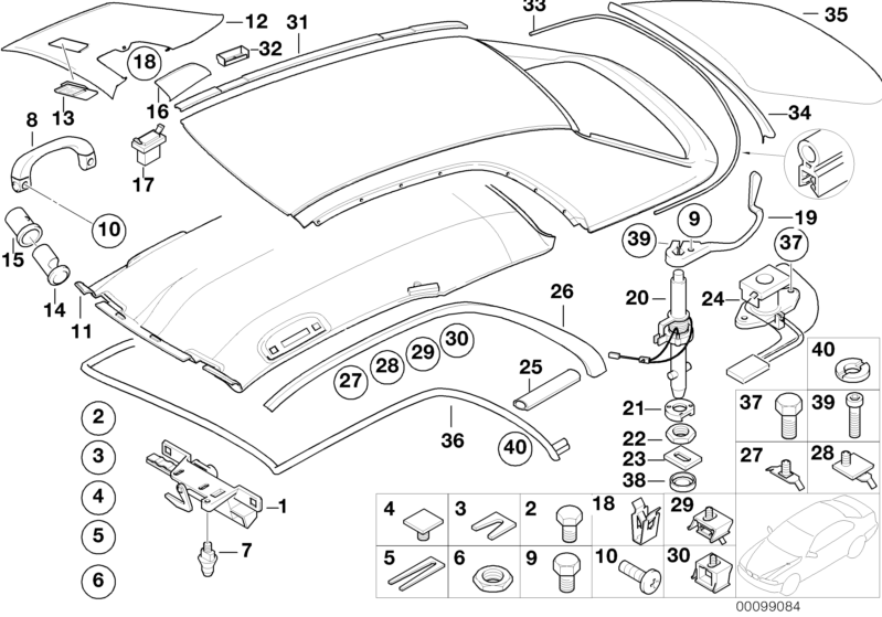 BMW Genuine Hardtop Push Button E46 3 Series Cabrio