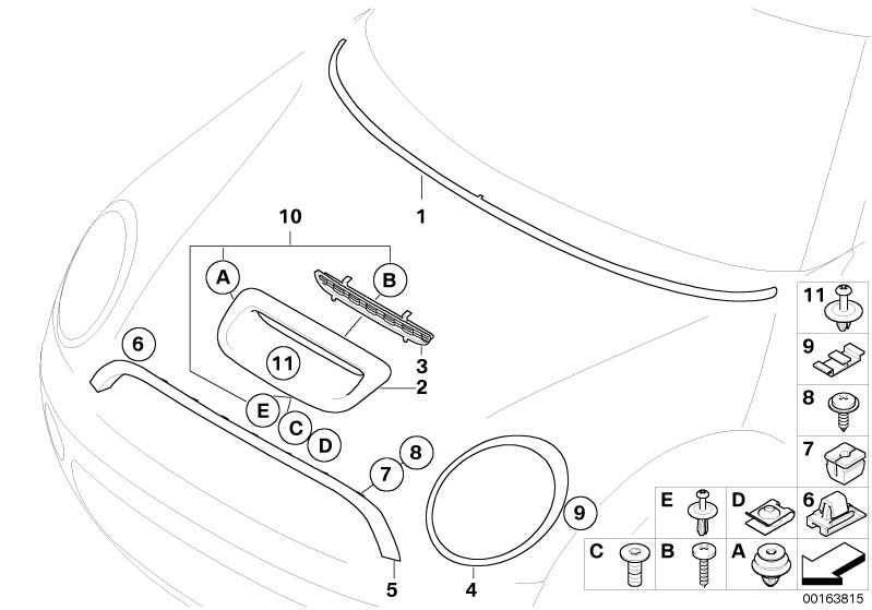 MINI Genuine Bonnet / Hood Scoop Air Intake Inlet Moulding