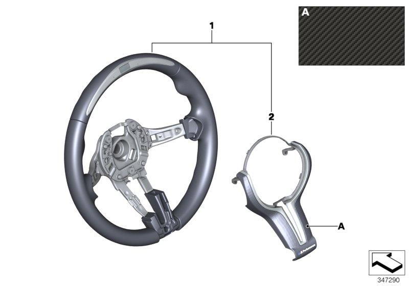 BMW Genuine M Performance Steering Wheel Cover Trim Carbon