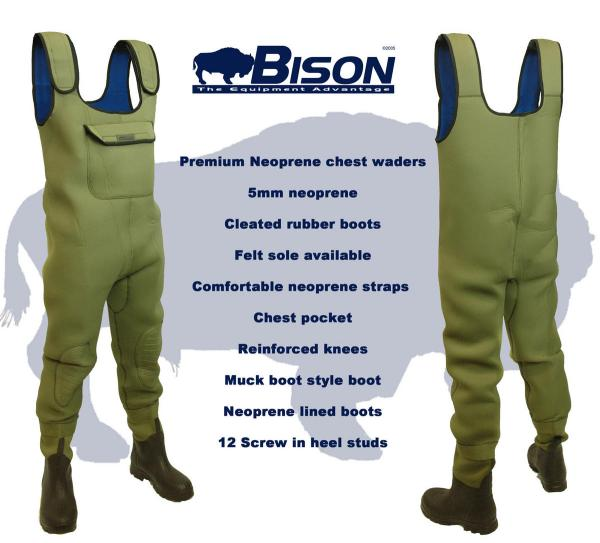 Bison Olive Green 5mm Neoprene Chest Waders Fishing Mad