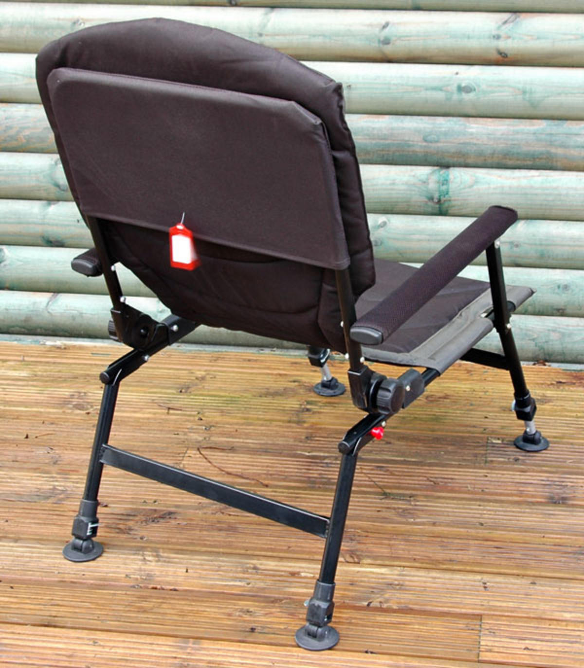 fishing chair with arms kids football bison delux carp adjustable legs back recliner