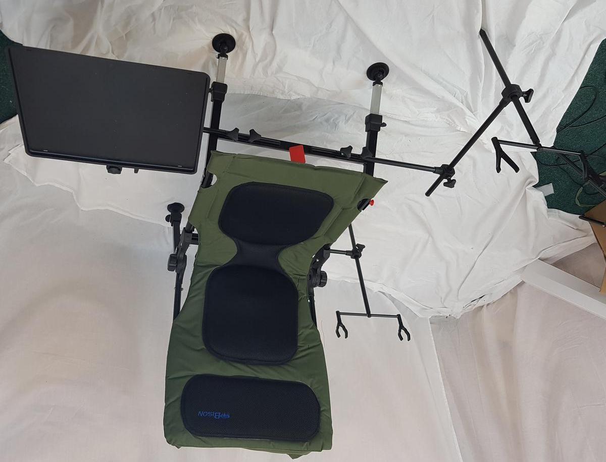 fishing chair setup collapsible adirondack plans bison delux carp station rod pod bivvy