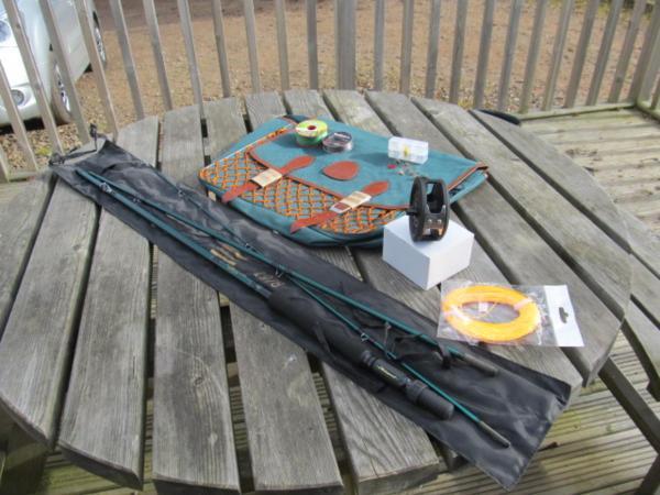 Fly Fishing Kit Rod Reel Line Bag Flies