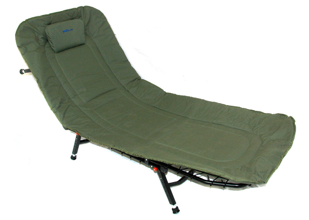 fishing chair bed reviews circular bamboo cushion bison bedchair or camping 6 adjustable legs