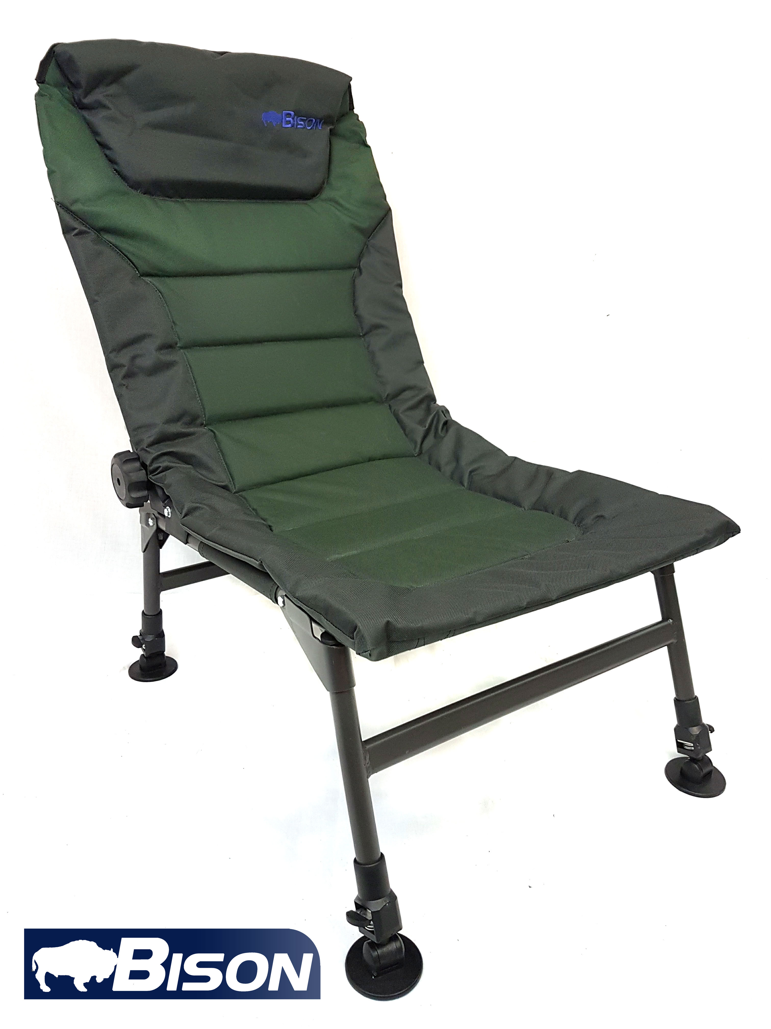 fishing chair with headrest add on bison adjustable legs and back recliner carp