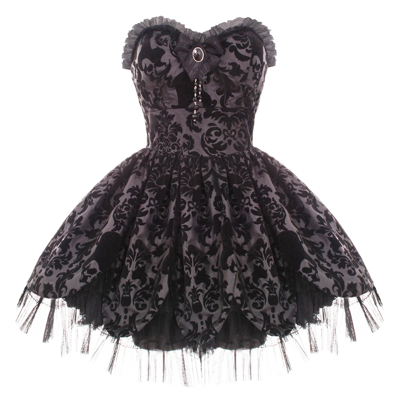 HELL BUNNY PETAL BLACK GOTH VICTORIAN MINI PROM DRESS  eBay