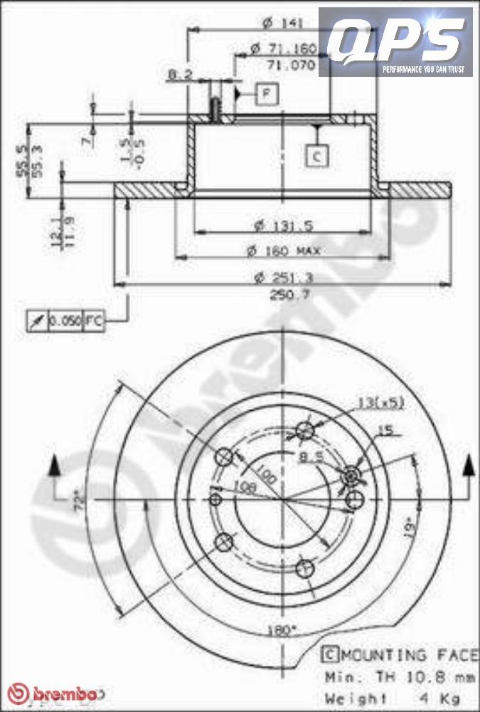 Citroen XM Break (Y3) 2.0 i (Y3A) Rear Brembo Brake Discs