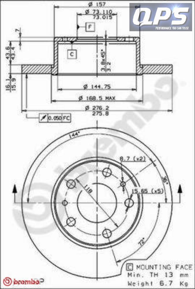 IVECO Daily II 29L10 Rear Brembo Brake Discs 09/02->/