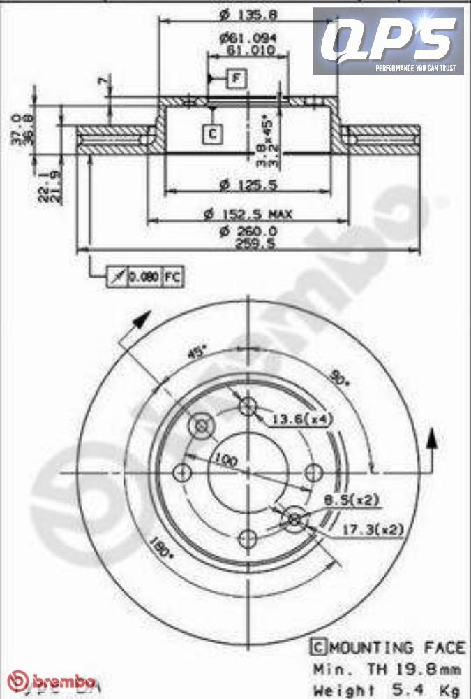 NISSAN MICRA C+C (K12) 1.6 160 SR Front Brembo Brake Discs