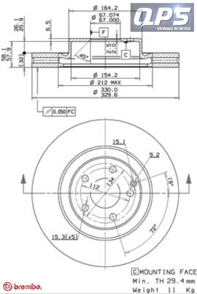 MERCEDES-BENZE-CLASS (W211) E350 CGI Front Brembo Brake
