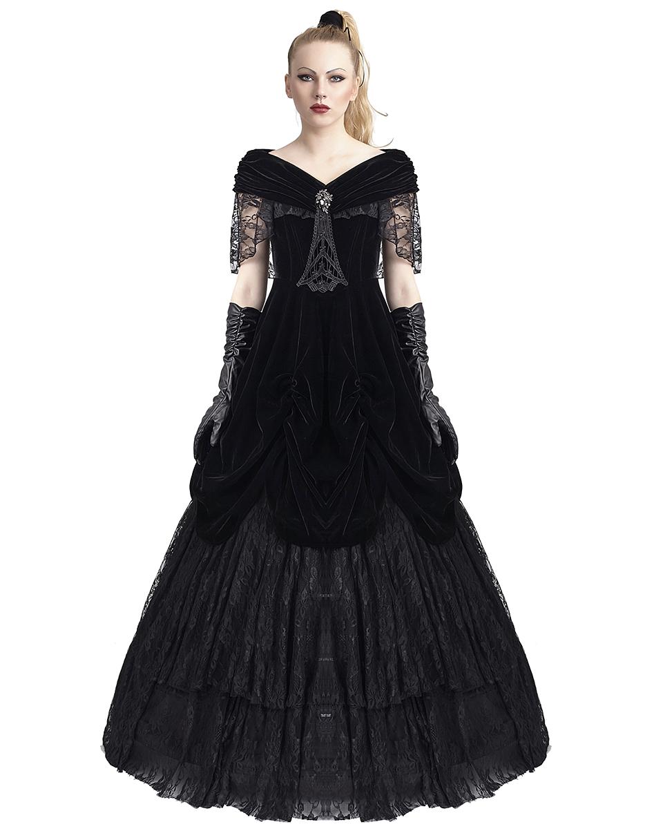Punk Rave Gothic Prom Dress Black Velvet Long Steampunk