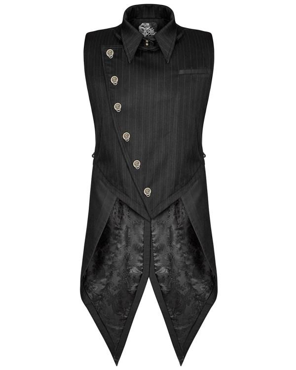 Punk Rave Mens Steampunk Waistcoat Tailcoat Vest Black