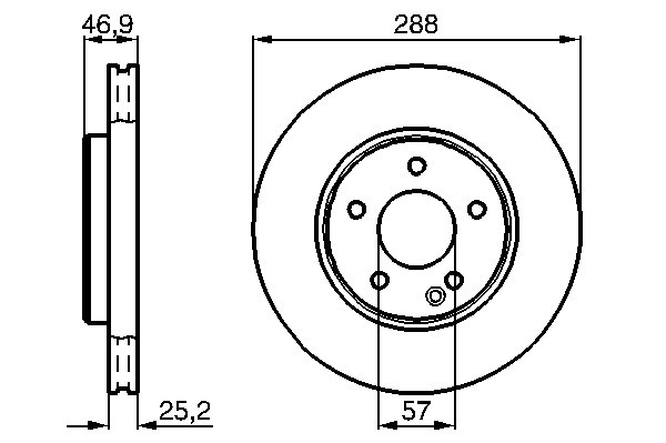 Brembo Front Vented Brake Disc 288mm For Mercedes C-Class