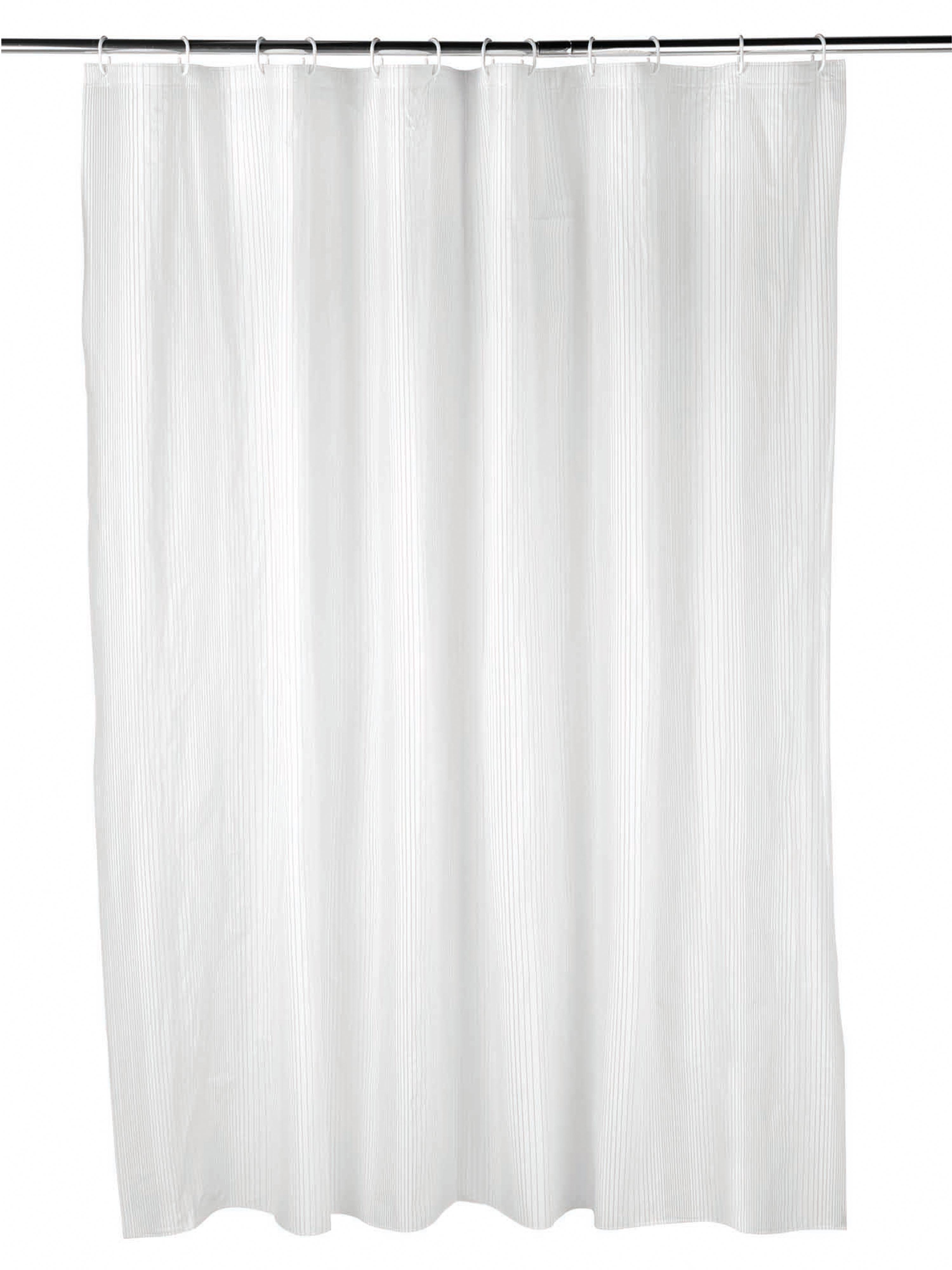 Beldray Boston Striped Shower Curtain With Hooks 180 X 180cm Peva White