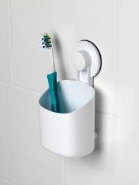 Beldray Plastic Suction Toothbrush Holder, White | Beldray