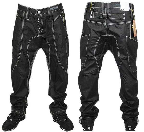 E6 Mens Black Le Breve 2030 Designer Drop Crotch Denim