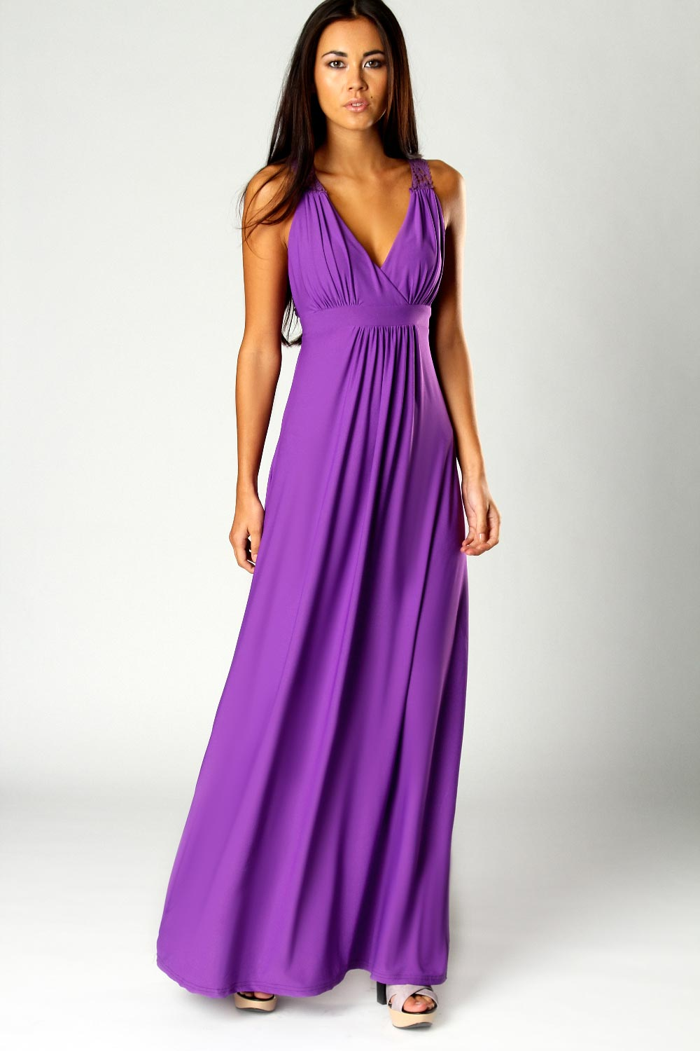 Boohoo Jess Crossover Front Lace Back Maxi Dress in Purple