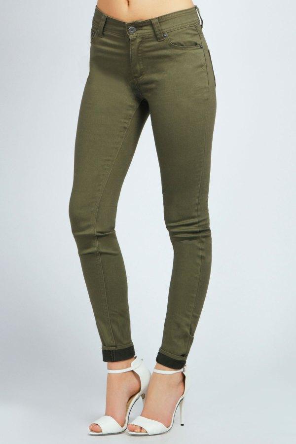 Boohoo Womens Ladies Perth Coloured Stretch Super Skinny Denim Jeans In Khaki