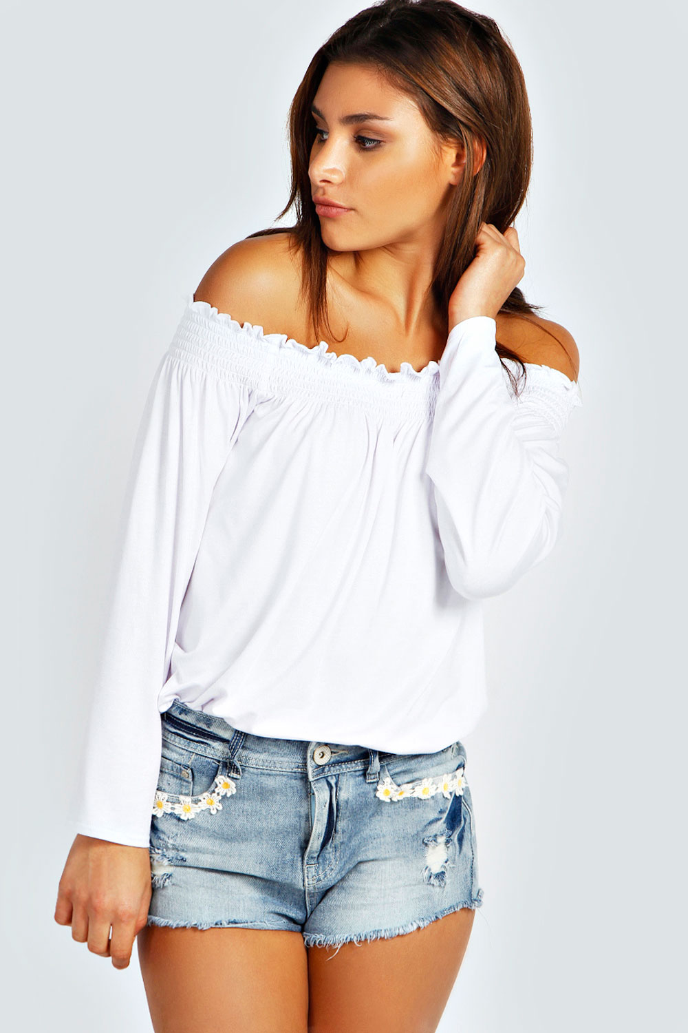 Boohoo Womens Ladies Kylie Shirred Off The Shoulder Top Long Sleeve Blouse  eBay