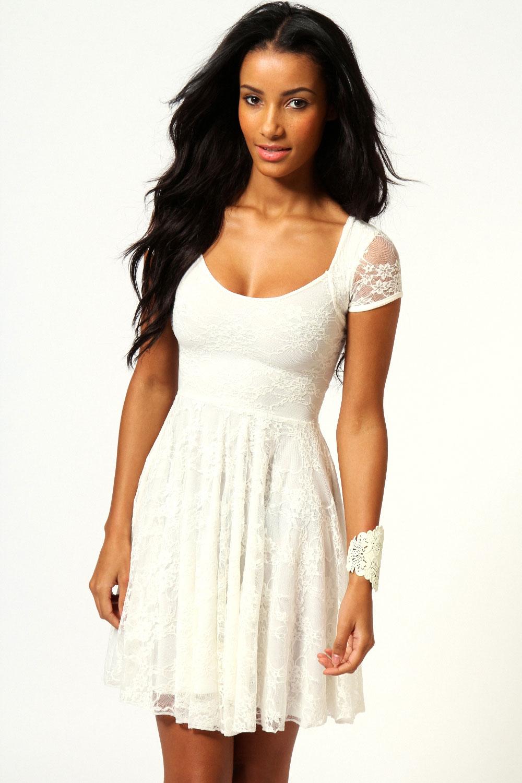Boohoo Caroline Cap Sleeve Lace Skater Dress  eBay