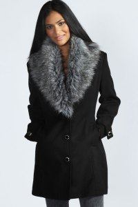Boohoo Libby Shawl Faux Fur Collar Fitted Coat In Black | eBay