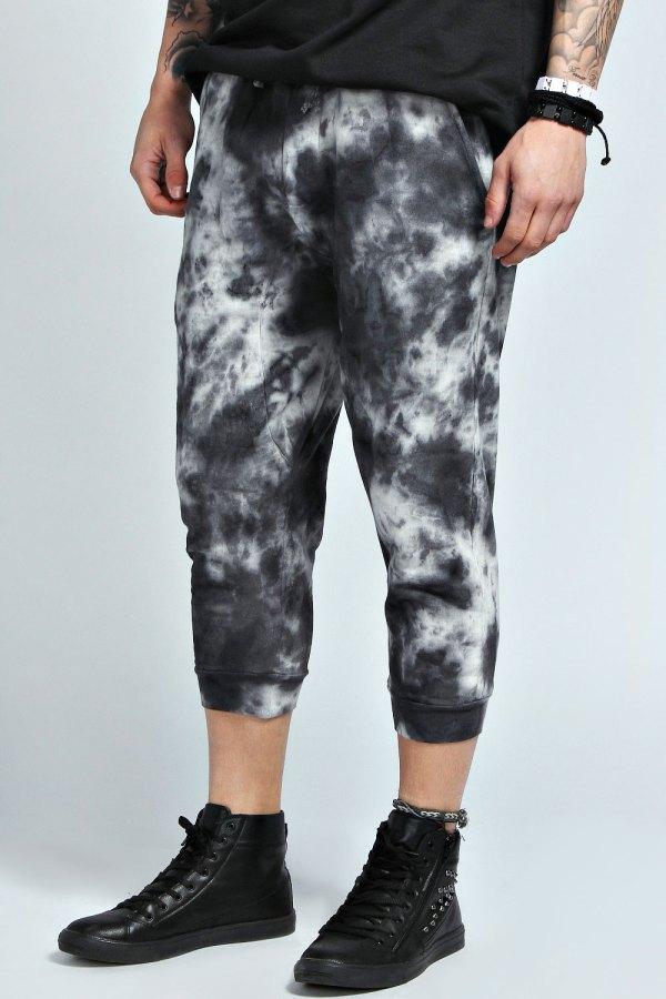 Boohoo Mens Marble Wash Drop Crotch Joggers Sweat Pants