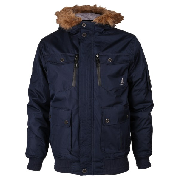 Mens Kangol Zip Faux Fur Hoodie Bemford Jacket