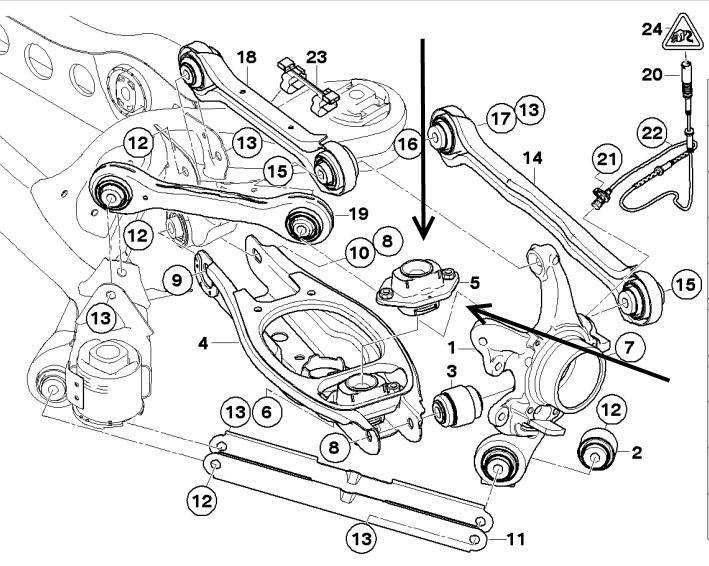 BMW 3 Series E90 E91 E92 E93 Lower Rear Shock Absorber