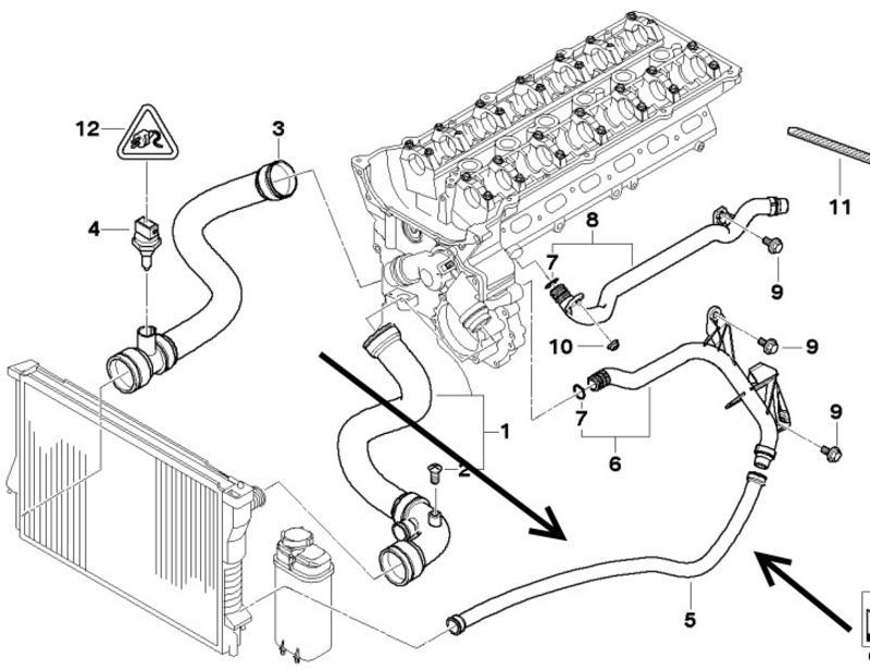 Radiator Return Pipe BMW E46 320i,323i,325i,328i,330i 3