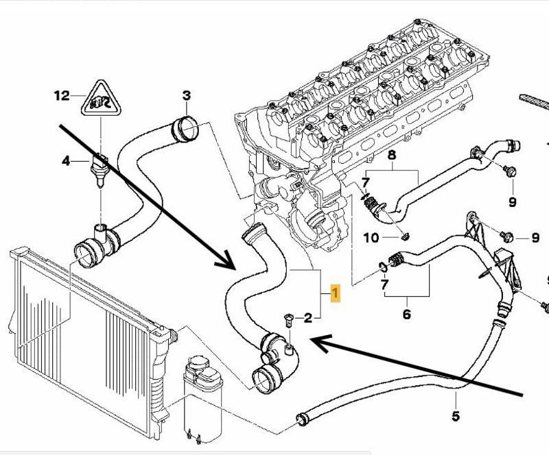 BMW E46 320i, 323i, 325i, 328i,330i Top Radiator Hose