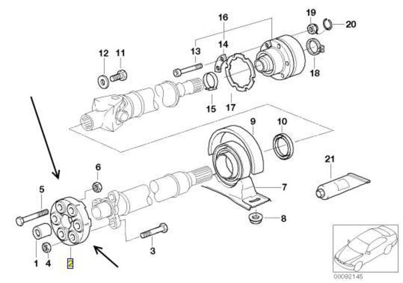 BMW 5 Series E39 M5 Front Flexible Propshaft Coupling FEBI