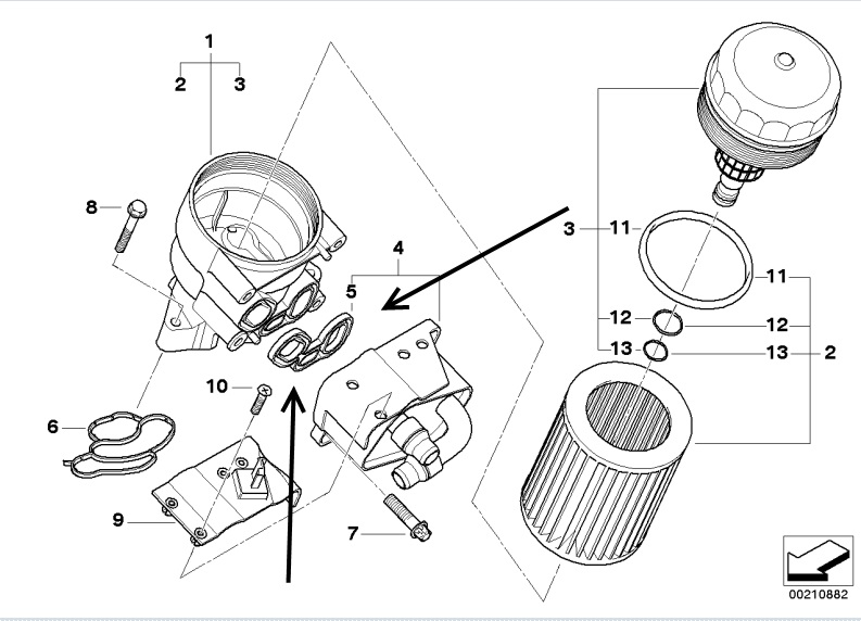 Oil Filter Housing Gasket BMW E46 316i, 318i, N42 & N46