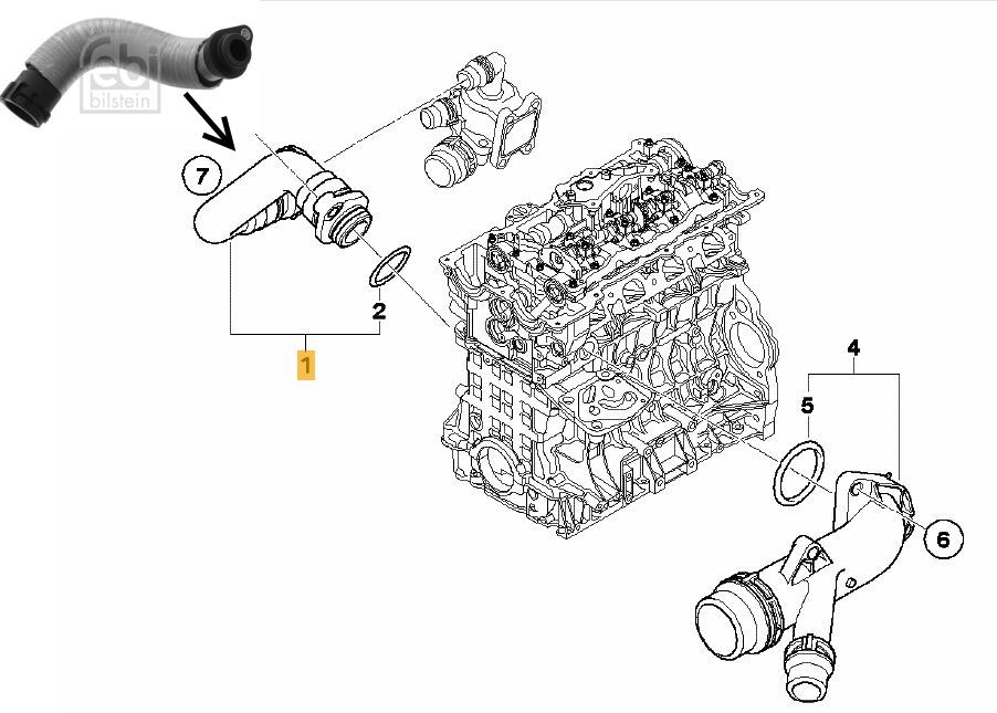 Thermostat to Engine Hose BMW E90 E91 E92 E93 320i N46N