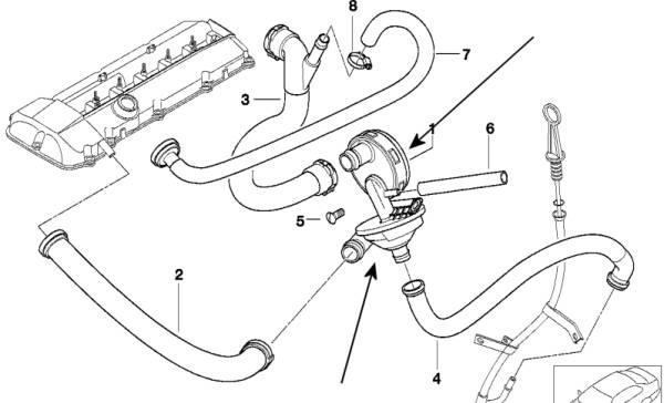 BMW Crankcase Breather E60 520i 525i 530i M54 engines
