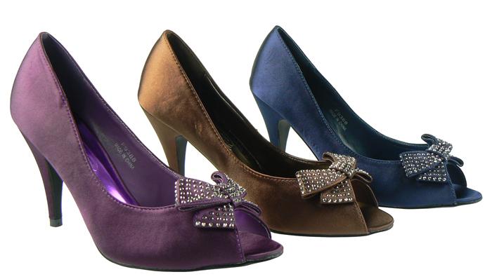 Navy Blue Satin Wedding Shoes