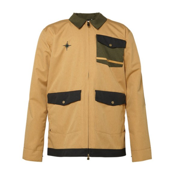 686 Forrest Bailey Cosmic Shacket Snowboard Jacket Camel Pincord Large Sample 2015