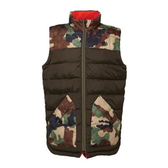 686 Airflight Polyquilt Vest Snowboard Jacket Coffee Large Sample; 2015